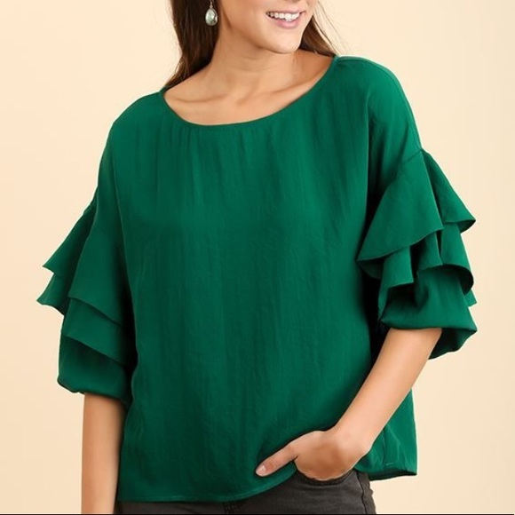 Umgee Tops - ❗️SOLD❗️Umgee Tiered Ruffled Boat Neck Blouse